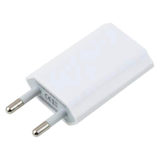 CARGADOR PARED NANO CABLE IPOD-IPHONE 5V 1A BLANCO | Quonty.com | 10.10.2001