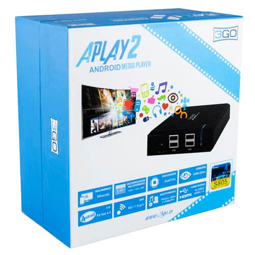 ANDROID TV 3GO APLAY2 QC 1+8GB FHD WIFI.N/RJ45 HDMI USB ANDROID 4.4 | Quonty.com | APLAY2