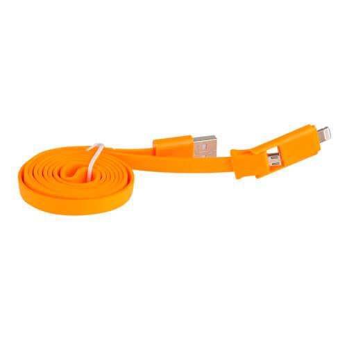 CABLE USB 3GO USB2.0 A/M - MICRO USB2.0 B/M + LIGHTNING 1,0M NARANJA | Quonty.com | C121