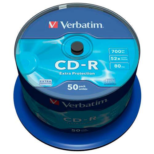 CD-R VERBATIM 700MB 52X EXTRA PROTECTION 50UNDS | Quonty.com | 43351