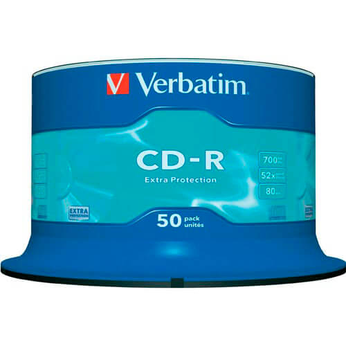 CD-R VERBATIM 700MB 52X EXTRA PROTECTION 50UNDS | Quonty.com | 43351