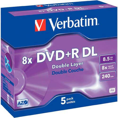 DVD+R DL VERBATIM 8.5GB 240MIN 8X 5UNDS | Quonty.com | 43541