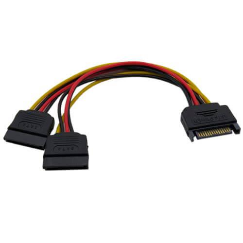 CABLE ALIMENTACION HDD SATA 15PIN A 2X HDD SATA 15PIN DELOCK | Quonty.com | 60105