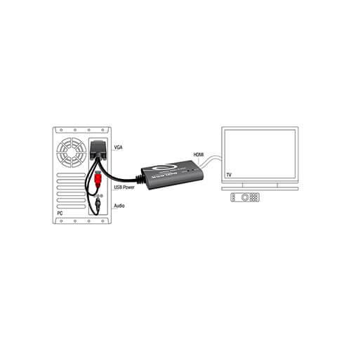 ADAPTADOR/CABLE DELOCK VGA HDB15/M C/AUDIO - HDMI A/H 0,23M NEGRO | Quonty.com | 62408