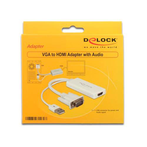 ADAPTADOR/CABLE DELOCK HDMI A/H - VGA HDB15/M 0,25M BLANCO | Quonty.com | 62460