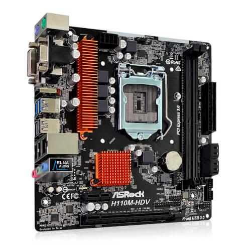PLACA ASROCK H110M-HDV R3.0 INTEL1151 DDR4 HDMI PCIE3.0 SATA3 USB3.0 MATX | Quonty.com | 90-MXB4W0-A0UAYZ