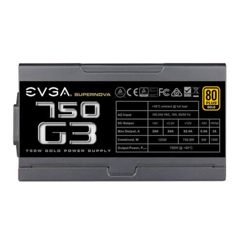 FUENTE ALIMENTACION EVGA SUPERNOVA 750 G3, 80 PLUS GOLD 750W | Quonty.com | 220-G3-0750-X2