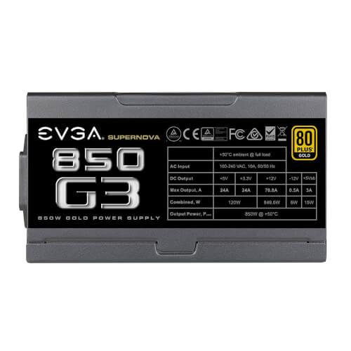 Fuente Alimentacion Evga Supernova 850 G3, 80 Plus Gold 850w   Quonty.com   220-G3-0850-X2