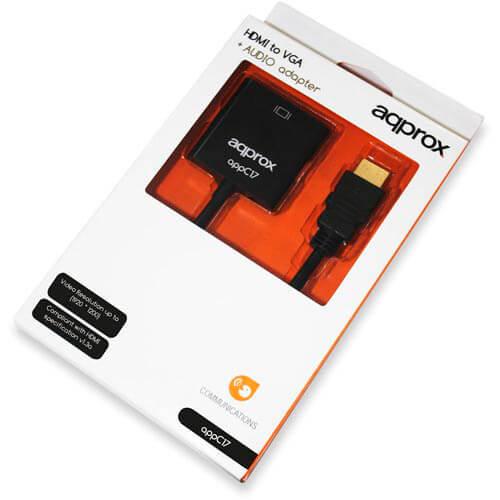 ADAPTADOR APPROX HDMI A/M - VGA HDB15/H C/AUDIO | Quonty.com | APPC17
