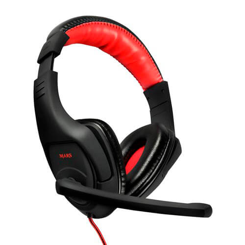 AURICULARES C/MICROFONO TACENS MARS MH1 GAMING JACK-3.5MM NEGRO/ROJO | Quonty.com | MH1