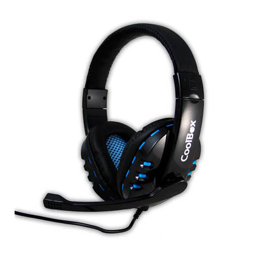 AURICULARES C/MICROFONO COOLBOX G2 BLUELIGHT JACK-3.5MM NEGRO/AZUL | Quonty.com | AURCOOBG2