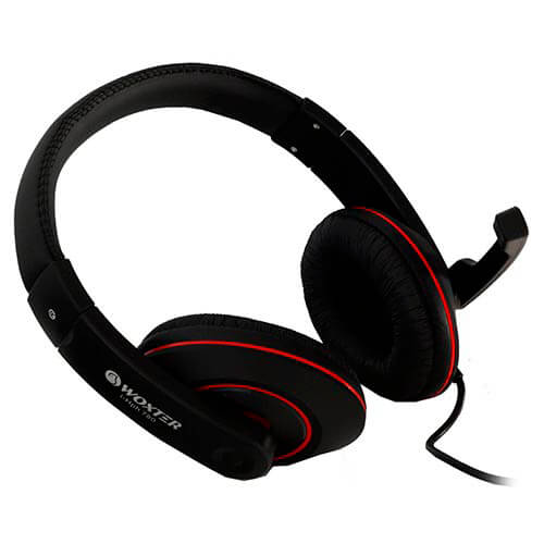 AURICULARES C/MICROFONO WOXTER I-HEADPHONE PC 780 GAMER JACK3.5MM C/VOLUMEN NEGRO/ROJO | Quonty.com | WE26-004