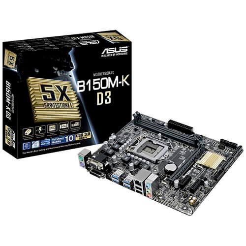 PLACA ASUS B150M-K D3 INTEL1151 2DDR3 DVI PCX3.0 SATA3 USB3.0 MATX   Quonty.com   90MB0N60-M0EAY0