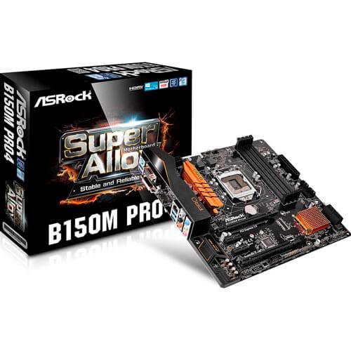 PLACA ASROCK B150M PRO4 INTEL1151 DDR4 PCX3.0 M-ATX HDMI/VGA | Quonty.com | 90-MXGZM0-A0UAYZ