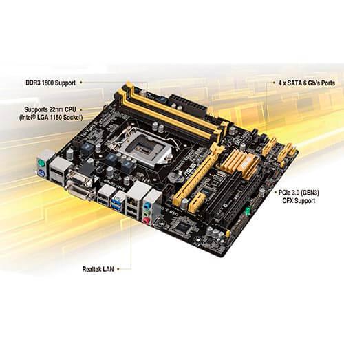PLACA ASUS B85M-E INTEL1150 4DDR3 HDMI PCX3.0 SATA3 USB3.0 MATX | Quonty.com | 90-MB0F60-M0EAY5