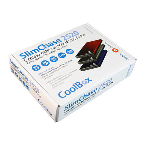 "CAJA HDD COOLBOX SLIMCHASE 2520 2.5"" SATA USB2.0 PLATA | Quonty.com | CAJCOOHD2520S"