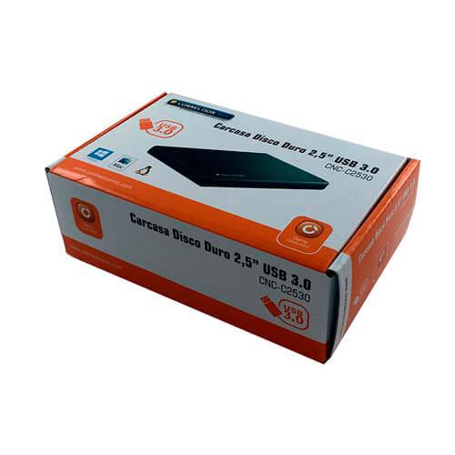 CAJA HDD CONNECTION 2.5'' SATA3 USB3.0 NEGRA | Quonty.com | CNC-C2530