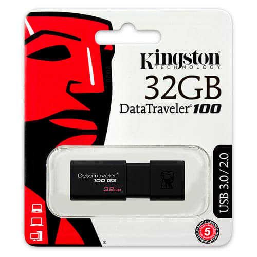 PENDRIVE KINGSTON 32GB USB3.0 DT100 G3 NEGRO | Quonty.com | DT100G3/32GB