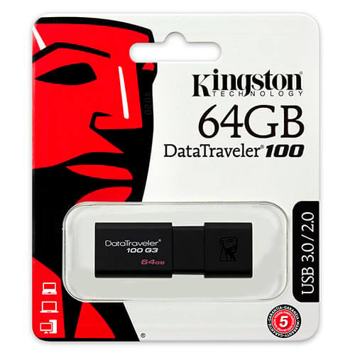 PENDRIVE KINGSTON 64GB USB3.0 DT100 G3 NEGRO | Quonty.com | DT100G3/64GB