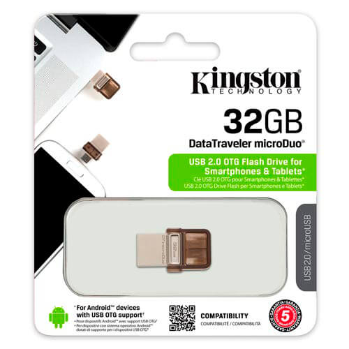 PENDRIVE KINGSTON 32GB USB2.0 DT MICRODUO USB / MICRO USB OTG | Quonty.com | DTDUO/32GB