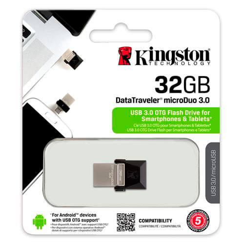 PENDRIVE KINGSTON 32GB USB3.0 DT MICRODUO USB / MICRO USB OTG | Quonty.com | DTDUO3/32GB