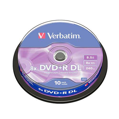 DVD+R DL VERBATIM 8.5GB 240MIN 8X 10UNDS | Quonty.com | 43666