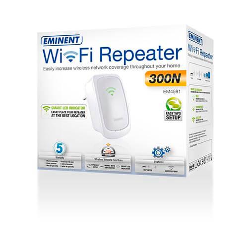 REPETIDOR EMINENT EM4591 WIFI-N/300MBPS WPS 1RJ45 | Quonty.com | EM4591