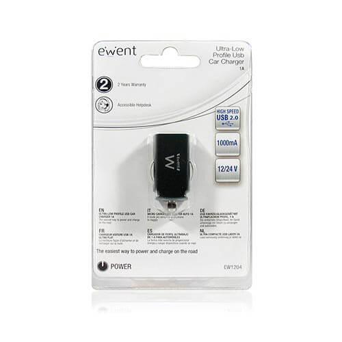 CARGADOR COCHE EMINENT EW1204 1USB 5V 1A | Quonty.com | EW1204