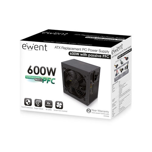 Fuente Alimentacion 600w Ewent Ew3908 Pfc-Activo 4sata 12cm | Quonty.com | EW3908