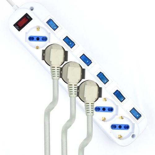 Regleta Ewent Ew3932-5m 6tomas Blanca C/Interruptores 5m | Quonty.com | EW3932-5M