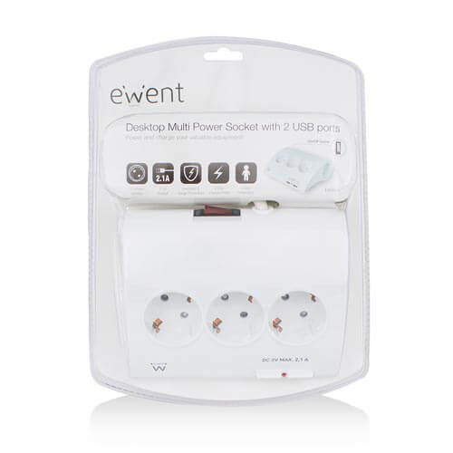 Regleta Ewent Ew3935 5 Tomas +2 Ptos. Usb Blanco | Quonty.com | EW3935