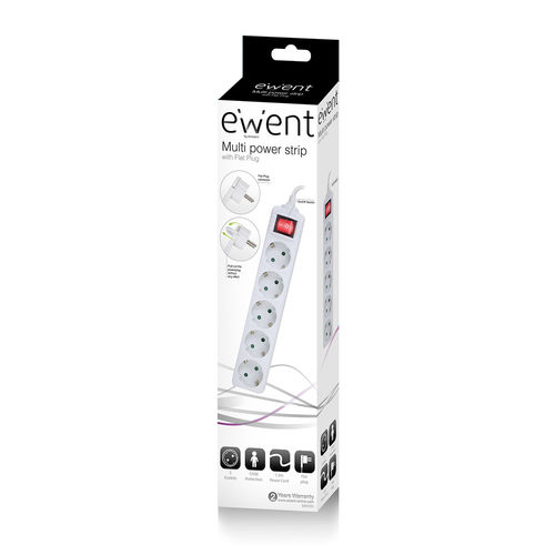 Regleta Ewent Ew3955 5tomas C/Interruptor Enchufe Plano | Quonty.com | EW3955