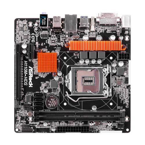 PLACA ASROCK H110M-HDS INTEL1151 DDR4 PCIE3.0 SATA3 USB3.0 HDMI/DVI M-ATX | Quonty.com | 90-MXB150-A0UAYZ