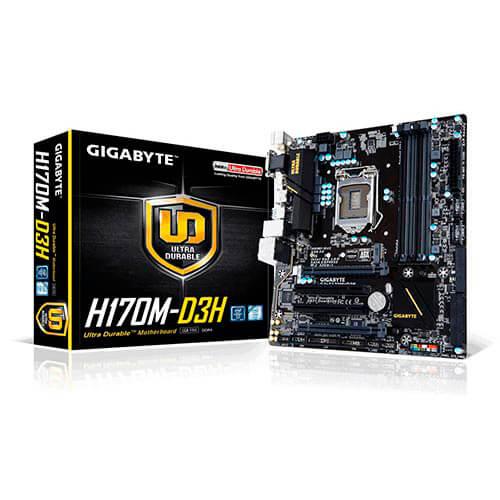 PLACA GIGABYTE H170M-D3H INTEL1151 4DDR4 HDMI PCX3.0 SATA3 USB3.0 MATX | Quonty.com | GA-H170M-D3H