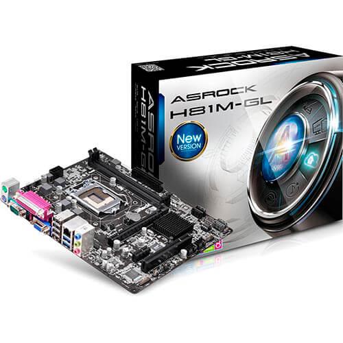 PLACA ASROCK H81M-GL INTEL1150 2DDR3 VGA PARALELO/SERIE SATA3 USB3.0 MATX | Quonty.com | H81M-GL
