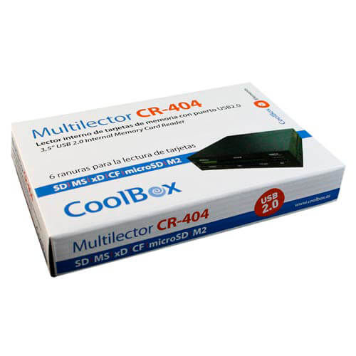 MULTILECTOR INTERNO 3.5'' COOLBOX CR-404 TARJETAS FLASH / USB2.0 | Quonty.com | COO-CR404