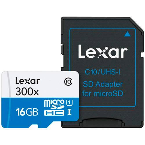 MICROSD LEXAR 16GB CL10 UHS-I ADAPTADOR SD | Quonty.com | LSDMI16GBB1EU300A