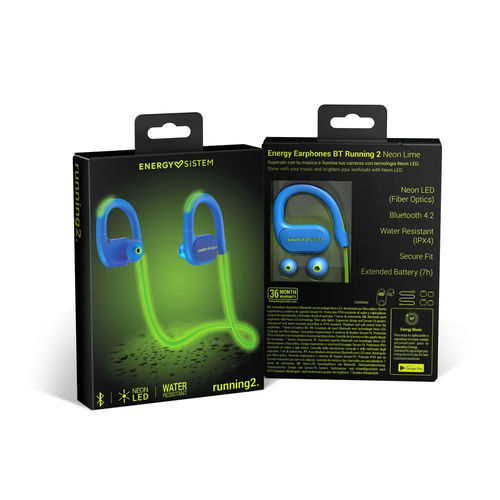 Auriculares Energy Sistem Running 2 Neon Bt Azul/Verde | Quonty.com | 448913