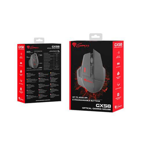 RATON GENESIS GX58 GAMING OPTICO 4000DPI USB | Quonty.com | NMG-0777