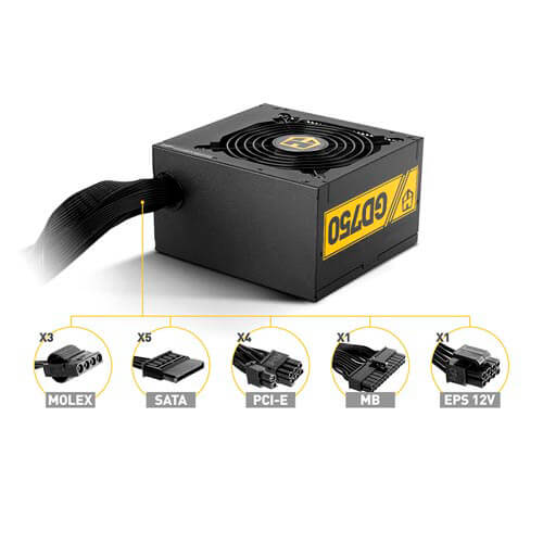 FUENTE NOX HUMMER 750W PFC-ACTIVO 80+GOLD 12CM ATX | Quonty.com | NXHUMMER750GD
