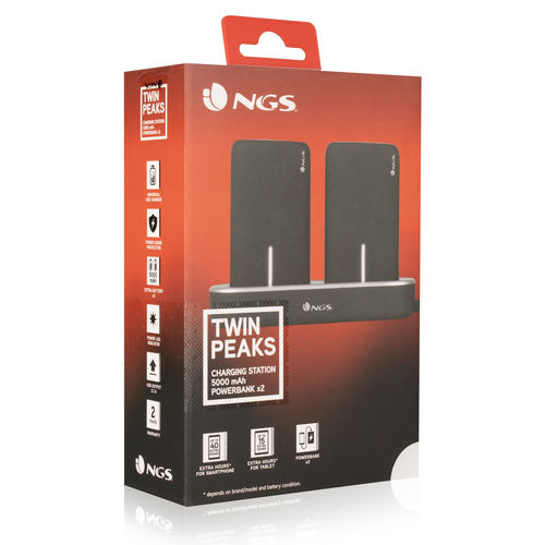 Powerbank Ngs Twin Peaks Negro 5000mah | Quonty.com | TWINPEAKS