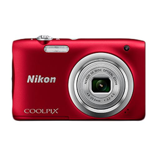 "CAMARA DIGITAL NIKON COOLPIX A100 ROJA - 20.1MPX - ZOOM OPTICO 5X - TFT 2.7""/6.7CM - VIDEO 720P HD - ESTABIL. DIGITAL - SD - BAT + FUNDA Y PALO SELFIE | Quonty.com | 999A100R11"