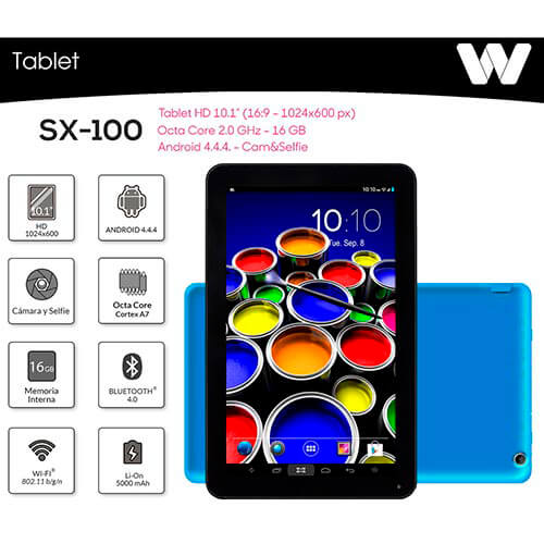 TABLET WOXTER SX-100 10.1'' OCTACORE 1GB-16GB ANDROID4.4.4 BLUETOOTH4.0 AZUL | Quonty.com | TB26-223