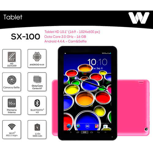 TABLET WOXTER SX-100 10.1'' OCTACORE 1GB-16GB ANDROID4.4.4 BLUETOOTH4.0 ROSA | Quonty.com | TB26-225
