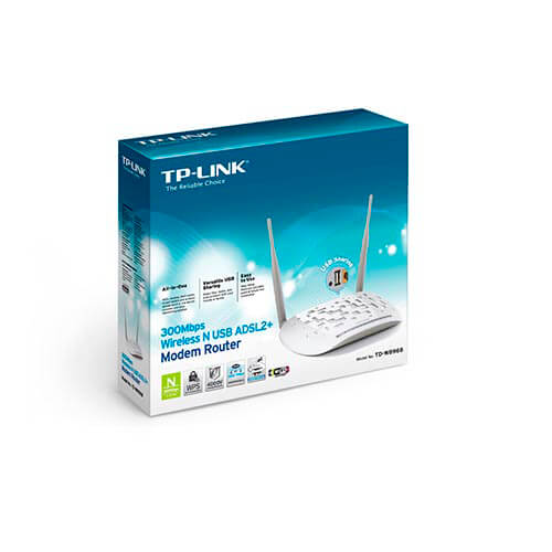 ROUTER TP-LINK TD-W8968 ADSL2+ 4PTOS WIFI-N/300MBPS 2ANTENAS | Quonty.com | TD-W8968