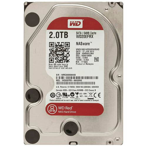 HDD WD NAS 3.5'' 2TB 5400RPM 64MB SATA3 RED | Quonty.com | WD20EFRX
