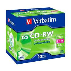 CD-RW VERBATIM 700MB 8-12X JEWEL CASE 10UNDS | Quonty.com | 43148