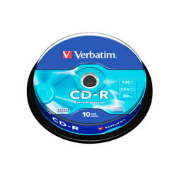 CD-R VERBATIM 700MB 52X EXTRA PROTECTION 10UNDS | Quonty.com | 43437