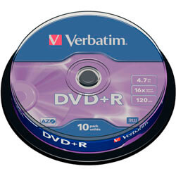 DVD+R VERBATIM 4.7 GB 120MIN16X 10 UNIDADES | Quonty.com | 43498