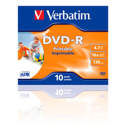DVD-R VERBATIM 4.7GB 120MIN 16X PRINTABLES 10UNDS | Quonty.com | 43521